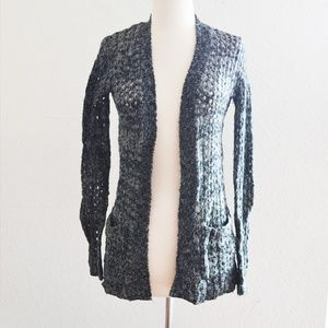 Black and Gray Large Knit Open Cardigan Size XS
